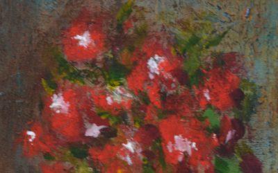 Pot et ses fleurs rouges